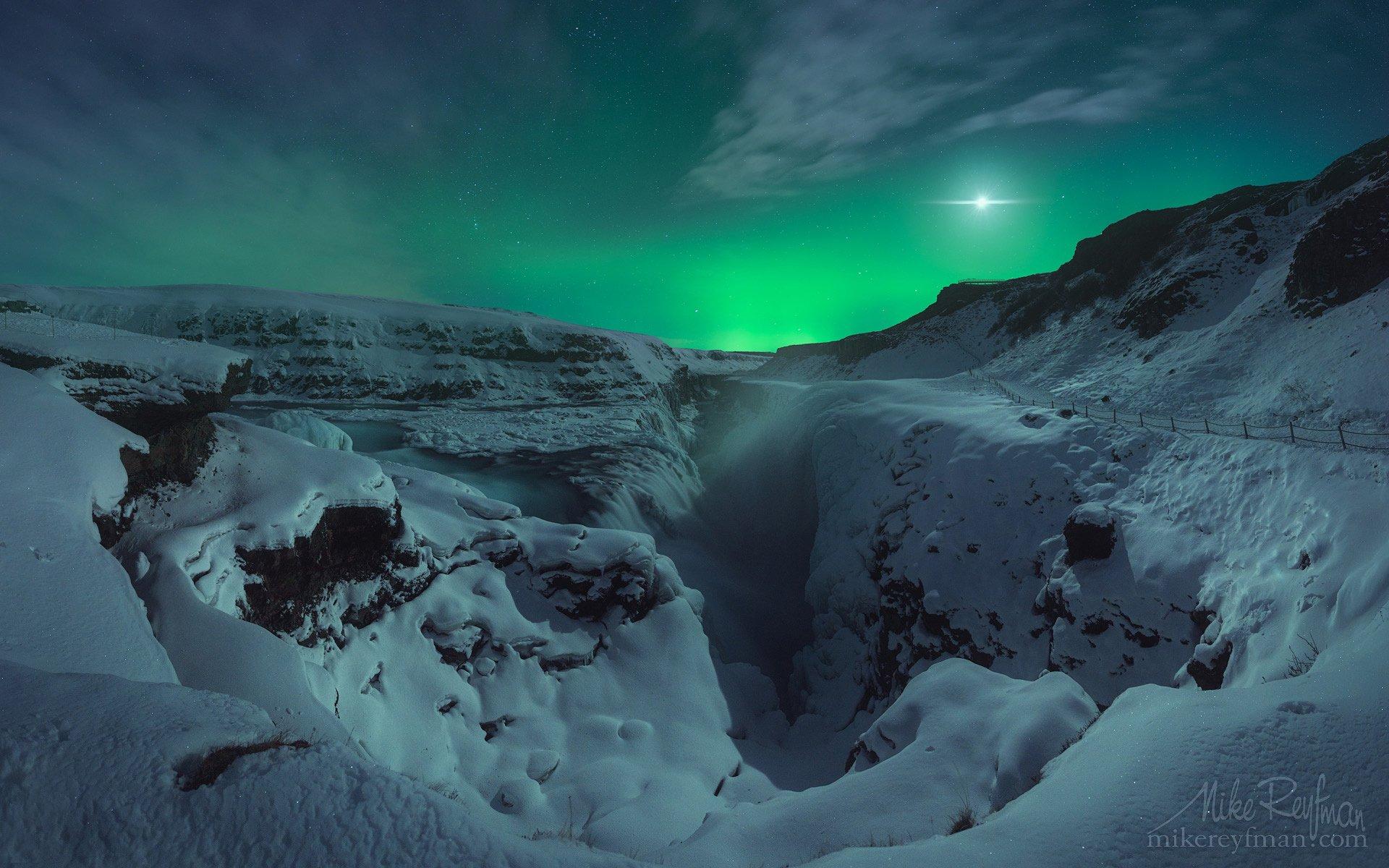 aurora borealis, gullfoss, iceland, night, Майк Рейфман