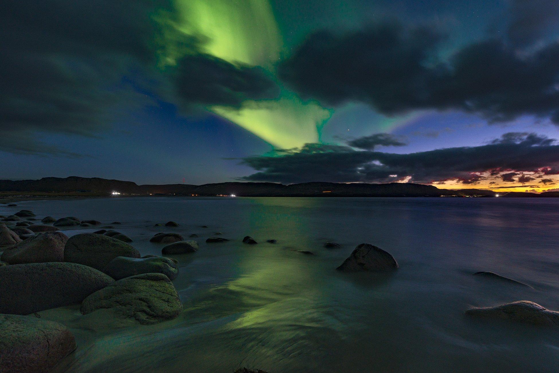 Nothern lights, Aurora  Borealis, северное сияние, закат, Васильев Алексей