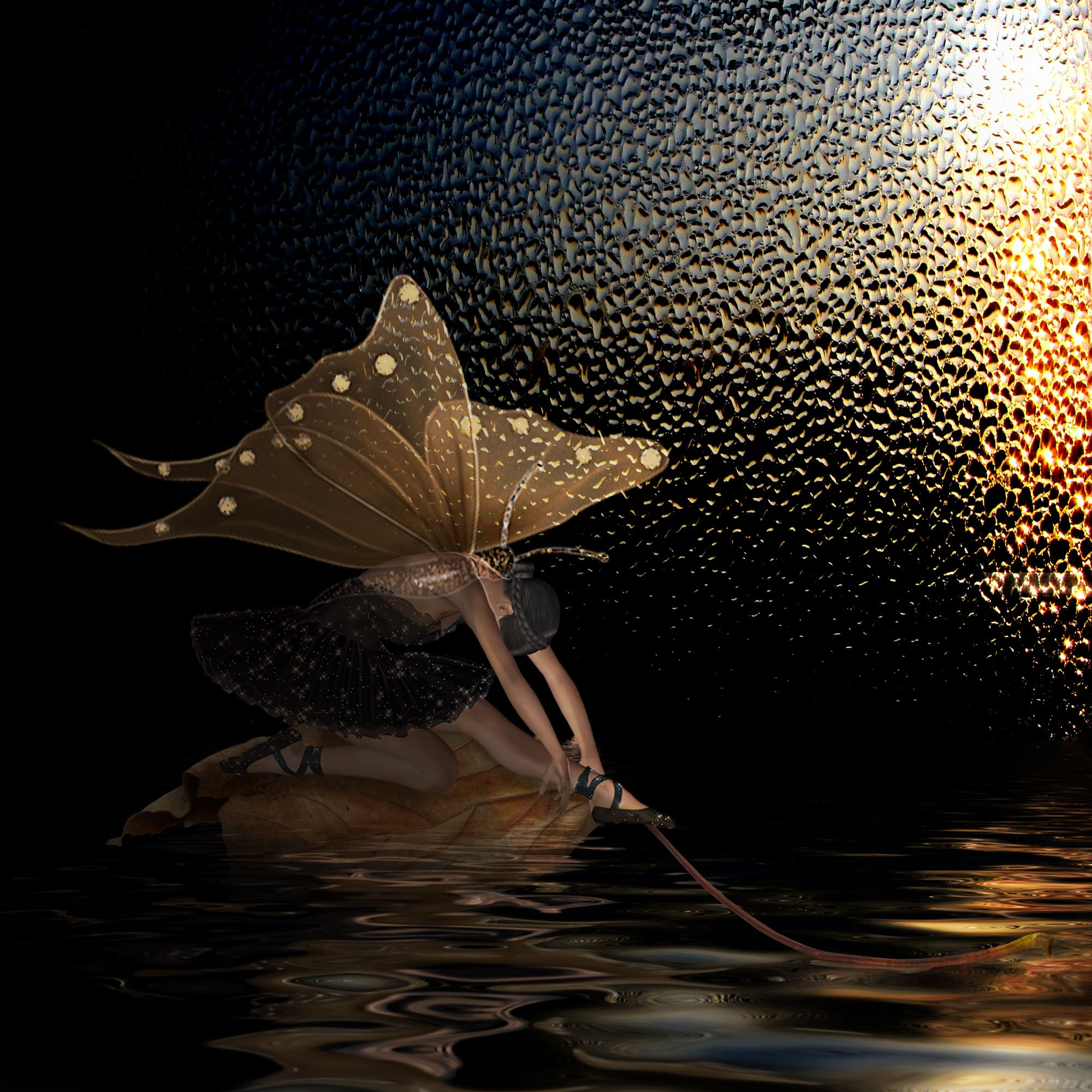бабочка, вода, девушка, лист,осень, Nataliorion