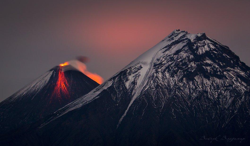 камчатка, вулканы, вулкан, ключевская, сопка, камень, извержение, лава, ночь, Войчук Владимир