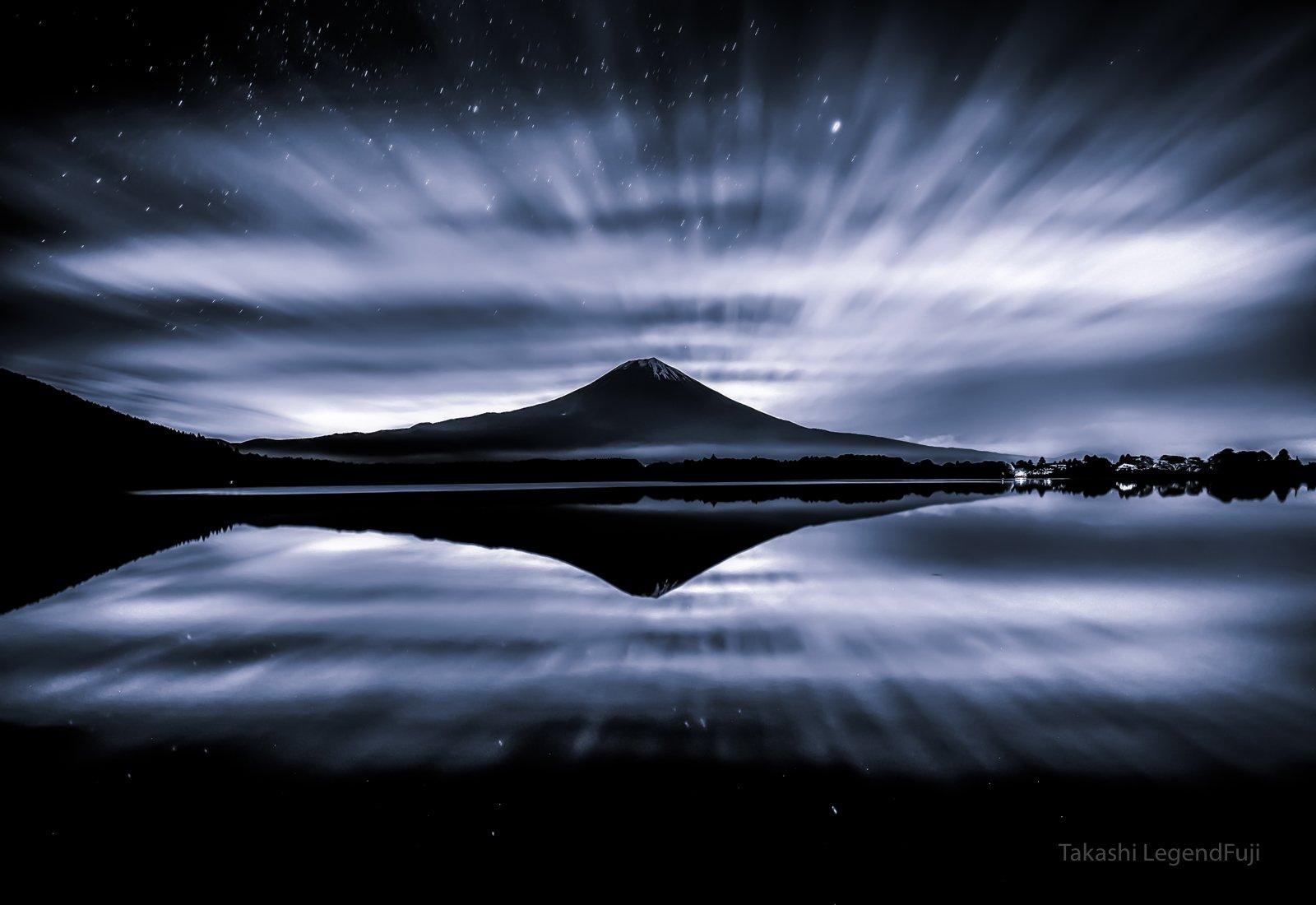 Fuji,mountain,Japan,lake,reflection,cloud,star,night,calm,beautiful,landscapes,, Takashi