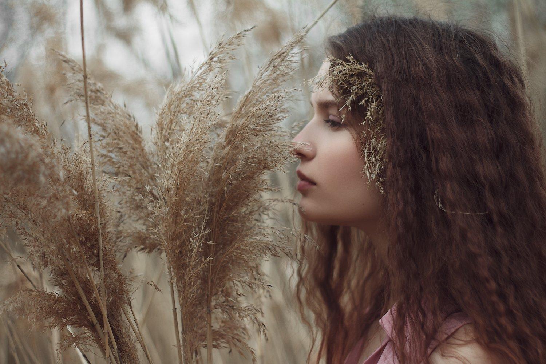 девушка, портрет, камыши, натуральный свет, Иван Копченов