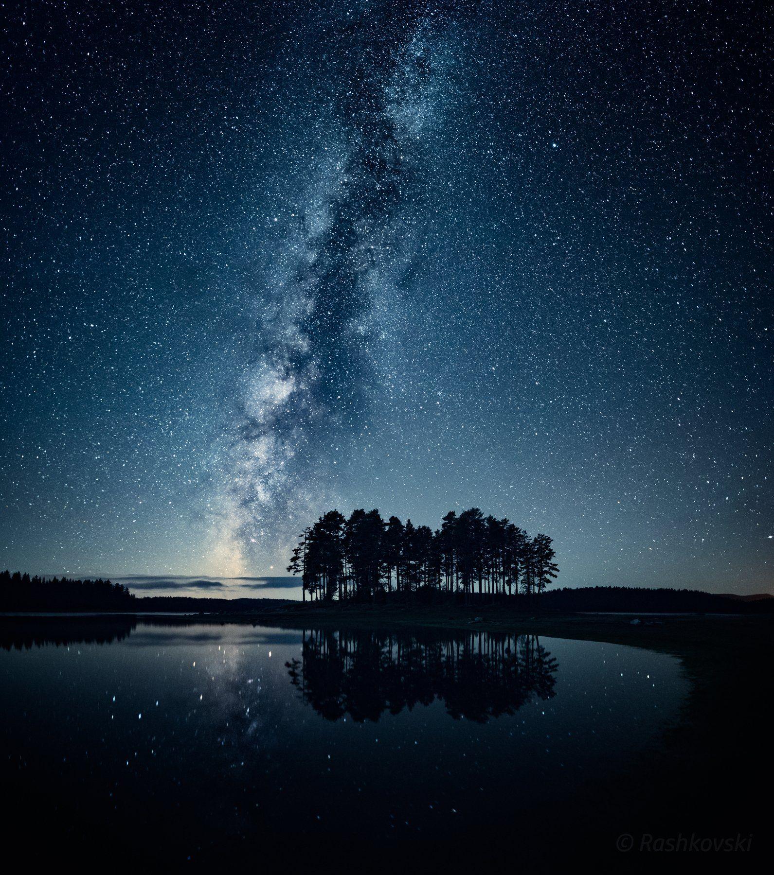 night, nightscape, lake, stars, Емил Рашковски