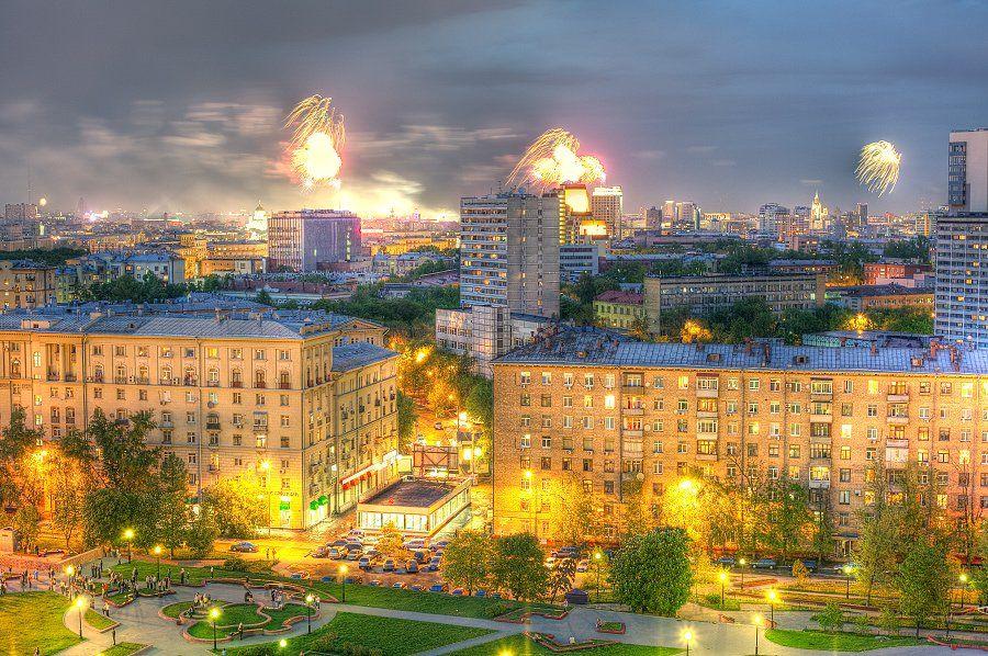 крыша, крыши, город, москва, ночь, салют, праздник, победа, Kremchik