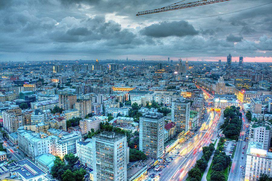 крыша, крыши, город, москва, небо, вечер, закат, облака, Kremchik
