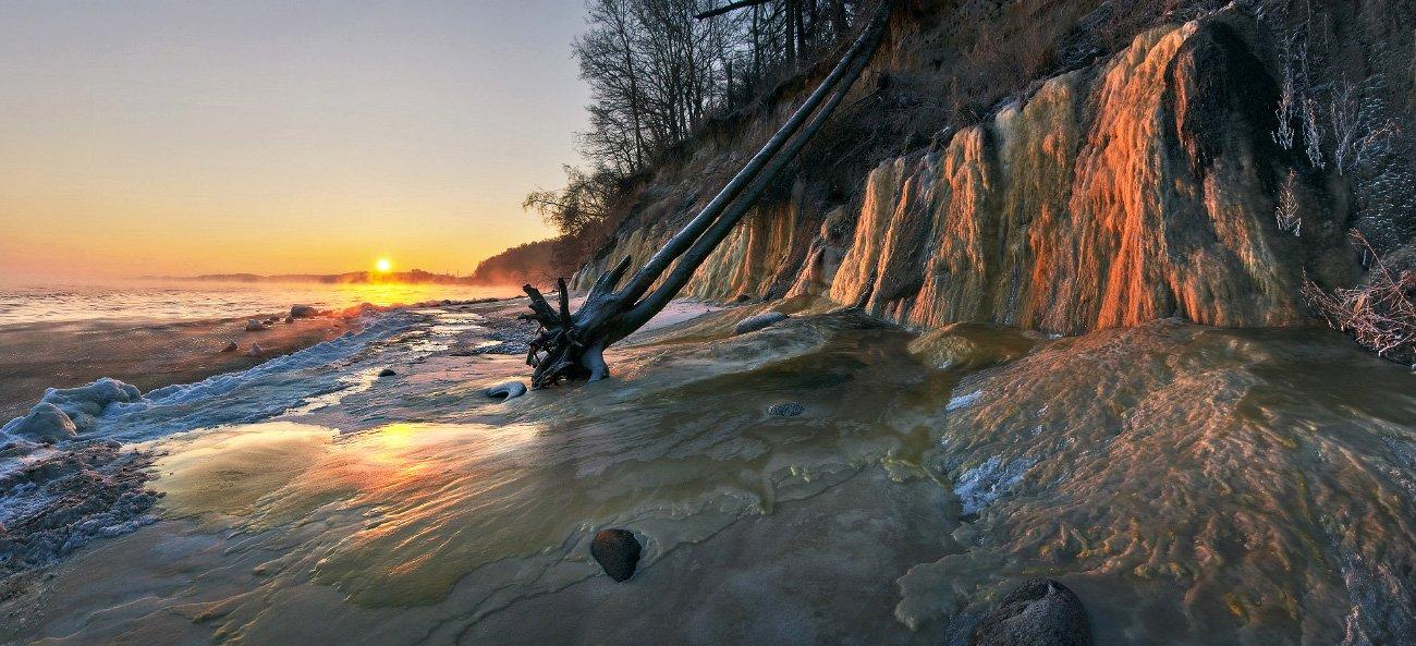 Балтийское море, зима, лёд, рассвет, Заостровье, Владимир Петрукович