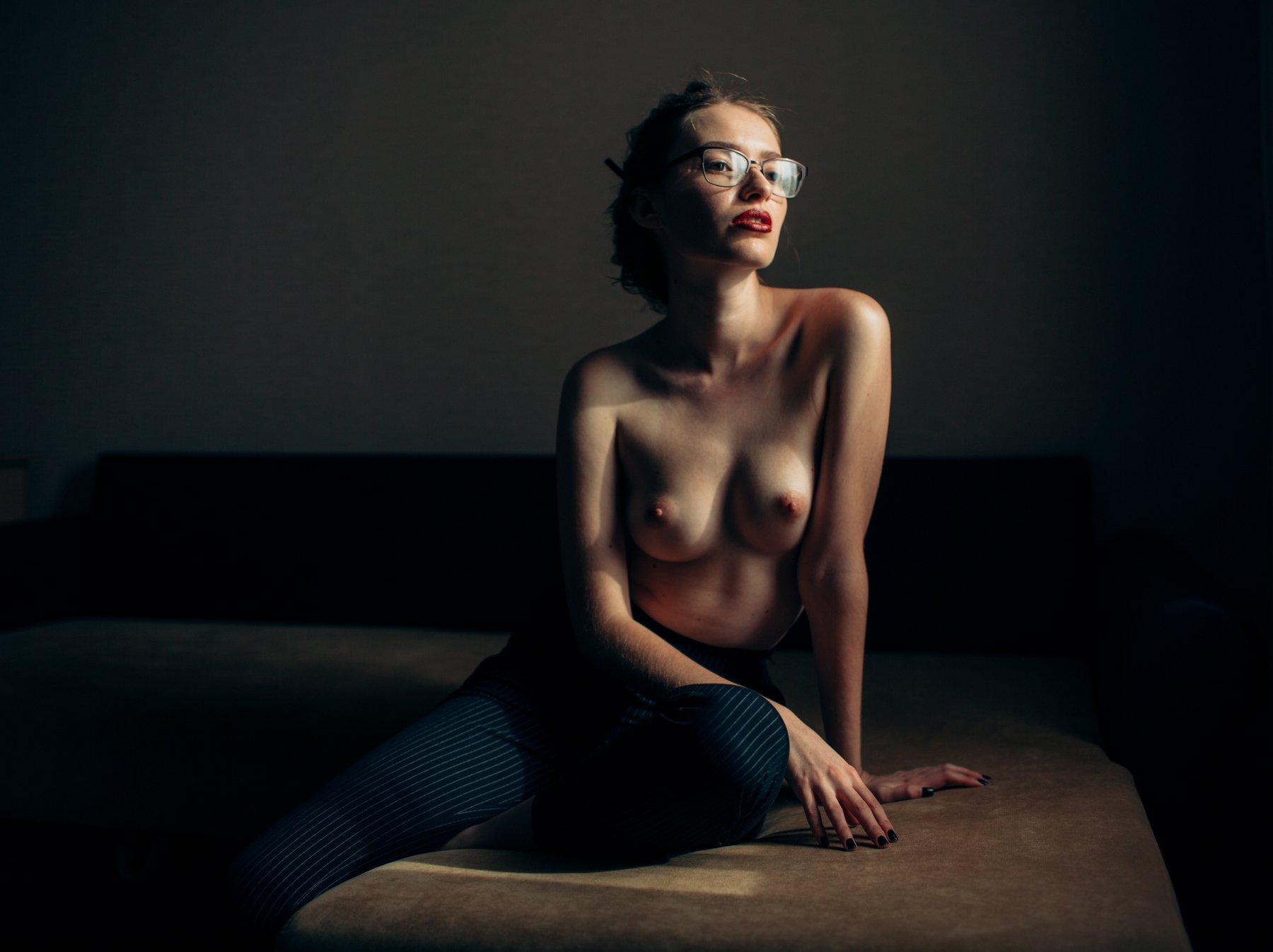 girl, at home, nude, light, glasses, Роман Филиппов