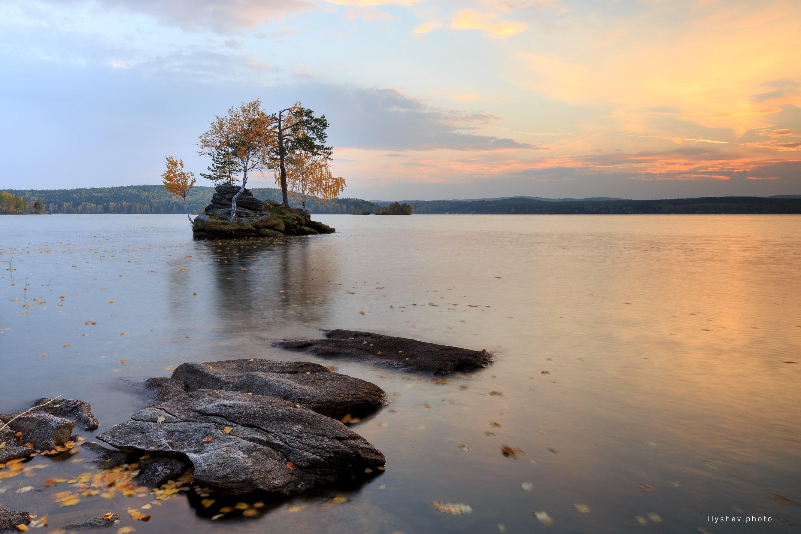 озеро, закат, осень, таватуй, урал, россия, пейзаж, природа, бонсай,, Дмитрий Илышев