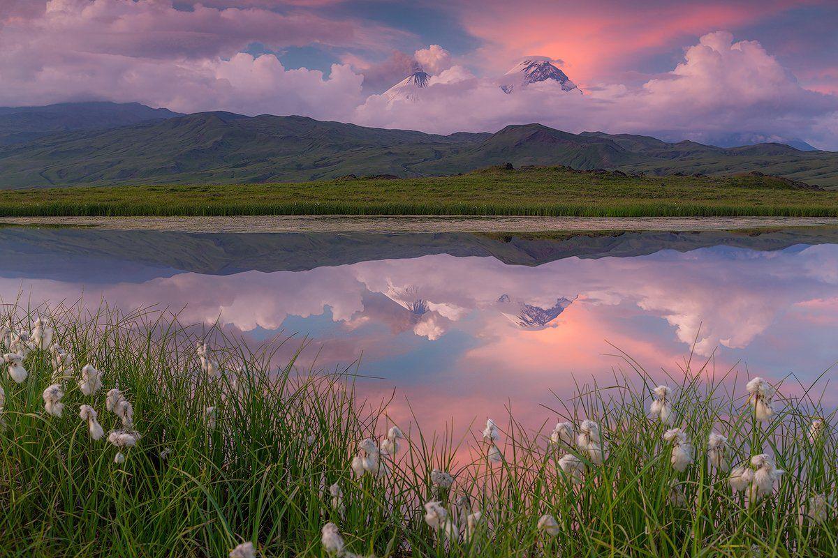 камчатка, вулкан, извержение, закат, пепел, снег, пейзаж, природа, озеро, облака,, Денис Будьков