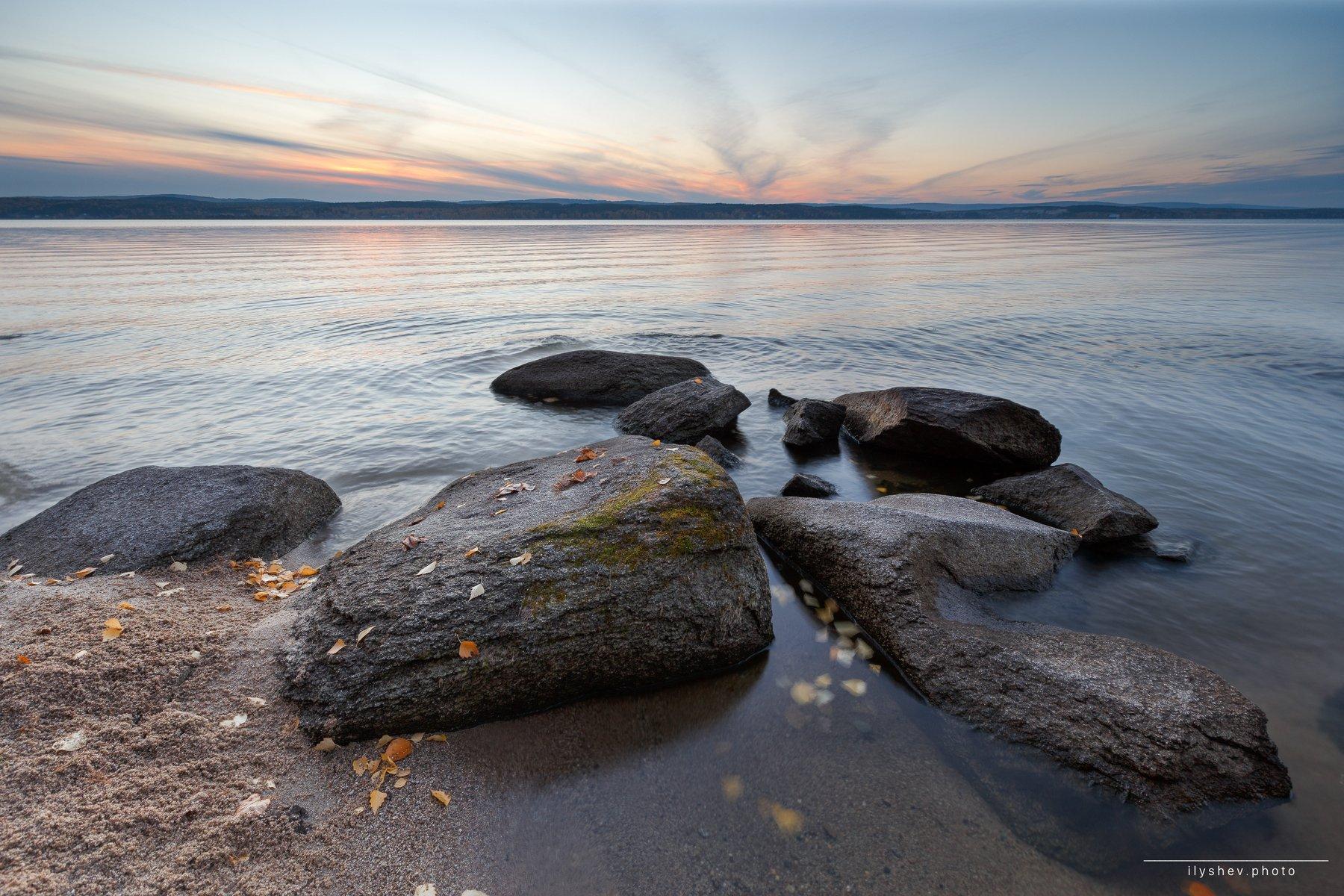 закат, камни, озеро, природа, пейзаж, урал, россия, осень, краски осени, горизонт, илышев, Дмитрий Илышев