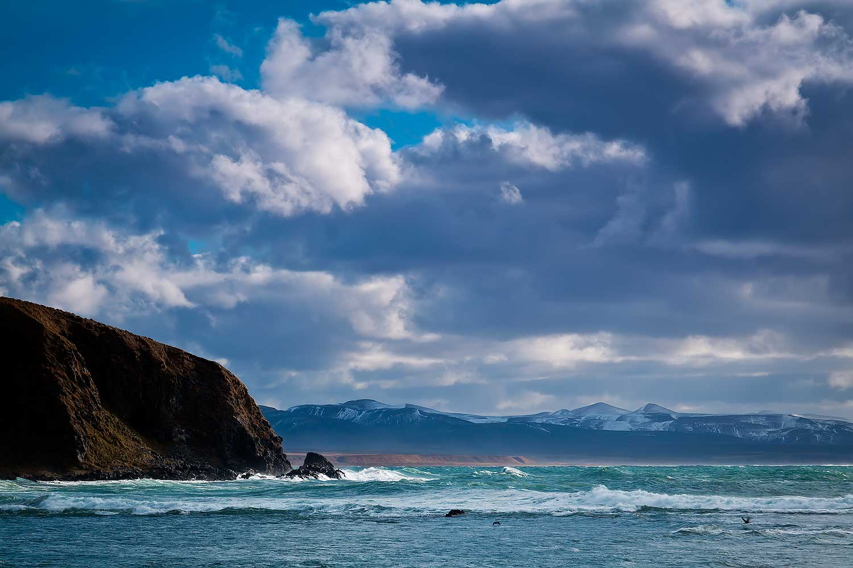 сопки, снег, тихий океан, шторм, скала, непропуск, волны, остров беринга, командорские острова, Дмитрий Уткин