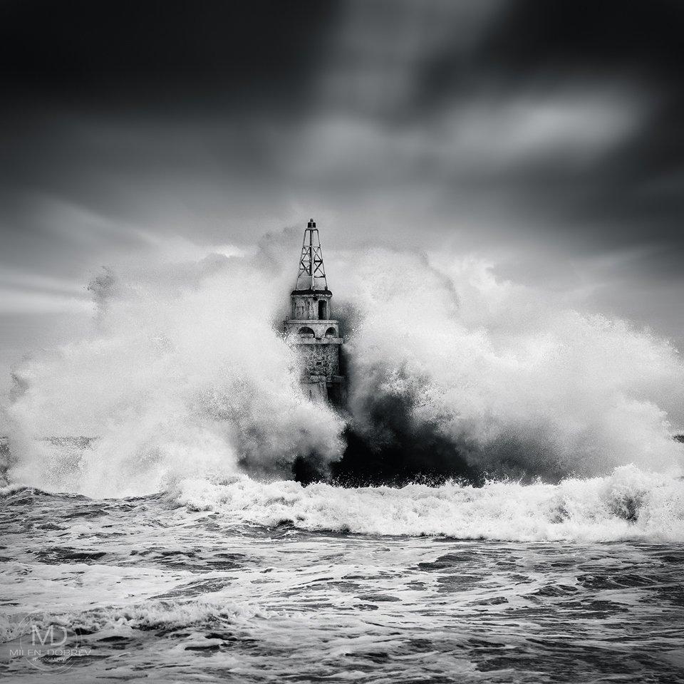 storm,nature, b&w, black sea, lighthouse, Милен Добрев