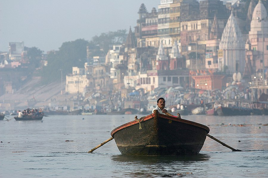 boat, man, varanasi, india, people, ganga, ganges, ganges river, ghats, oren s, Oren S.