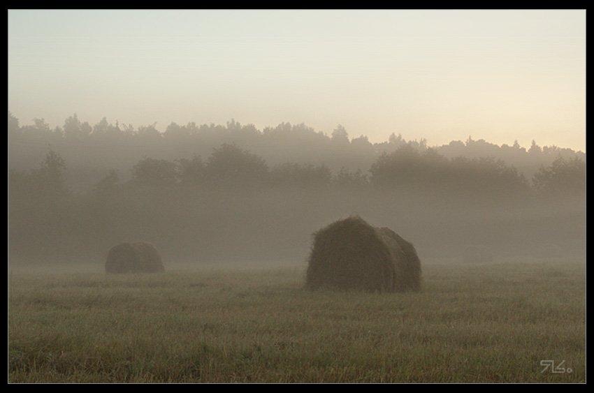 утро, сено, солома, рассвет, тюки, Янситов Константин (старший)