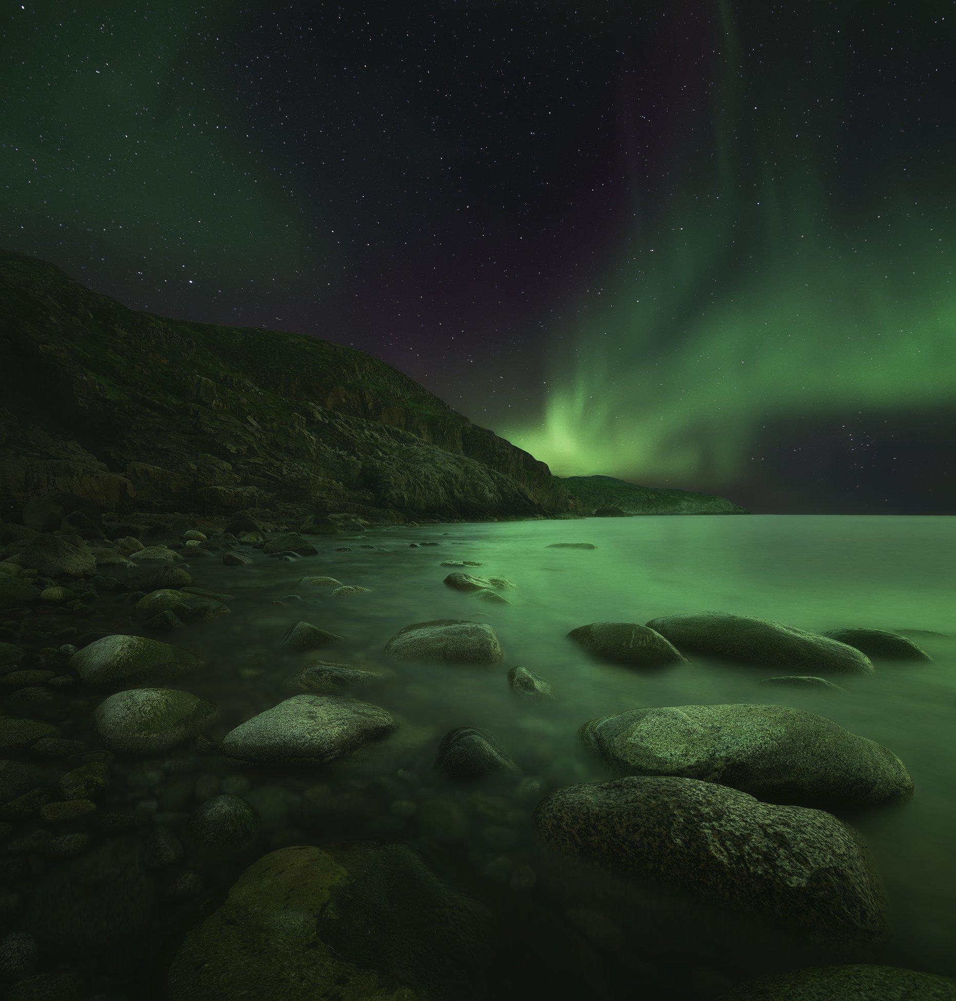 Северное сияние, Кольский полуостров, Териберка, aurora borealis, Васильев Алексей