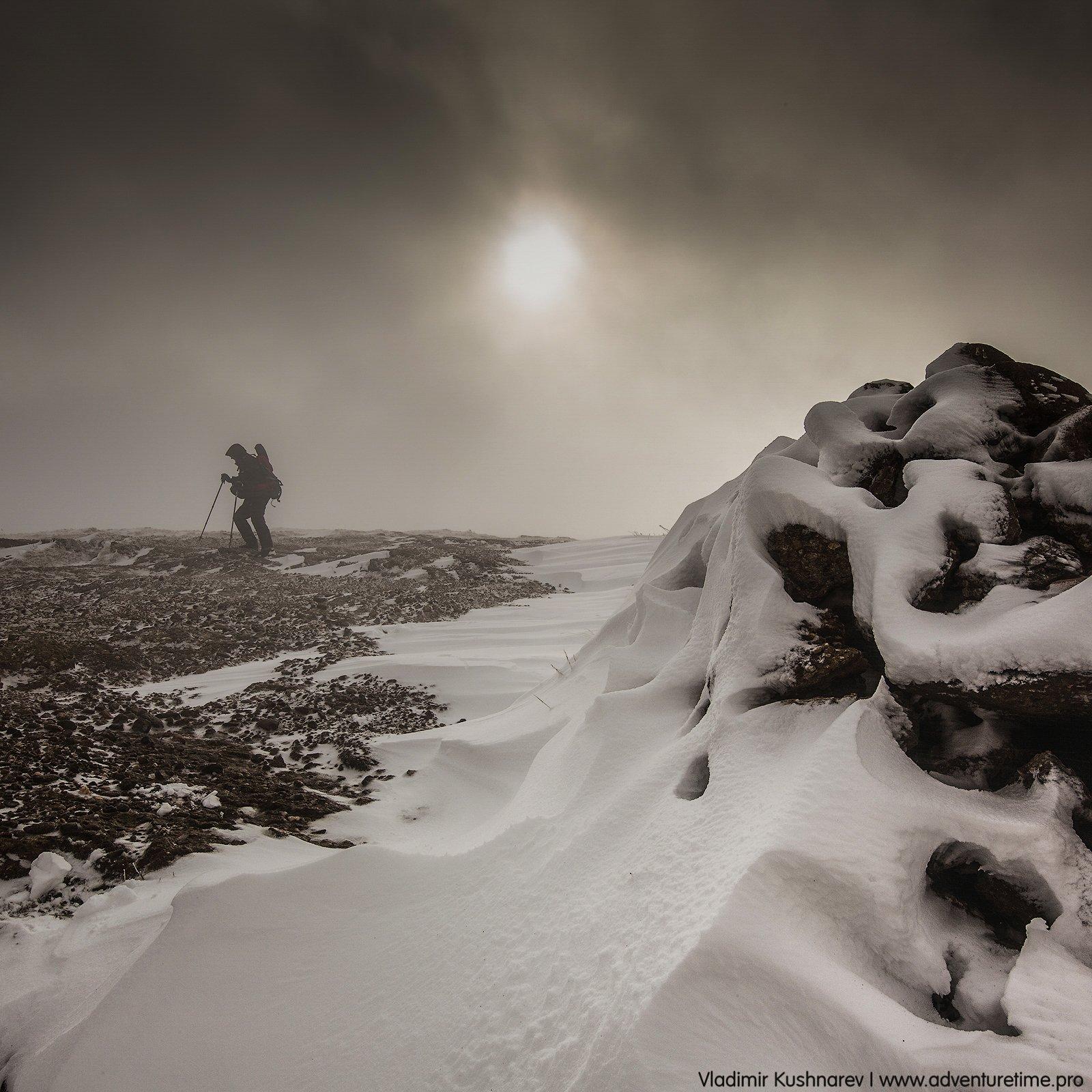 пейзаж, крым, рассвет, солнце, снег, шторм, горы, Vladimir Kushnarev