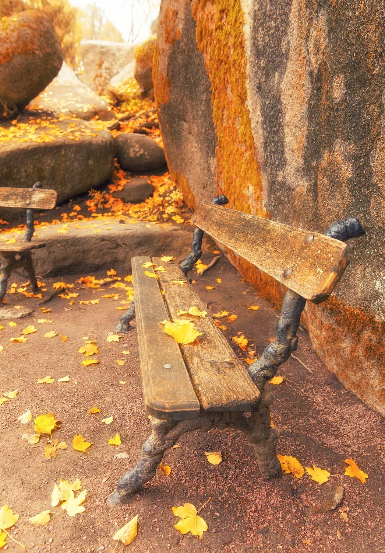 Скамья, осень, листья, камень, холод, слолнечно, Илья Беленький