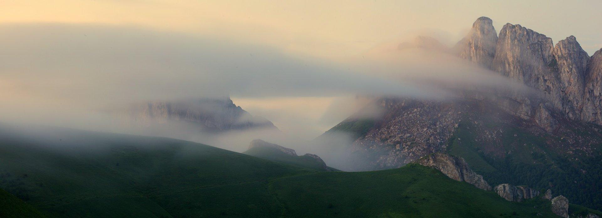 природный парк большой тхач рассвет горы кавказ утренний туман ачешбоки, Никифоров Егор