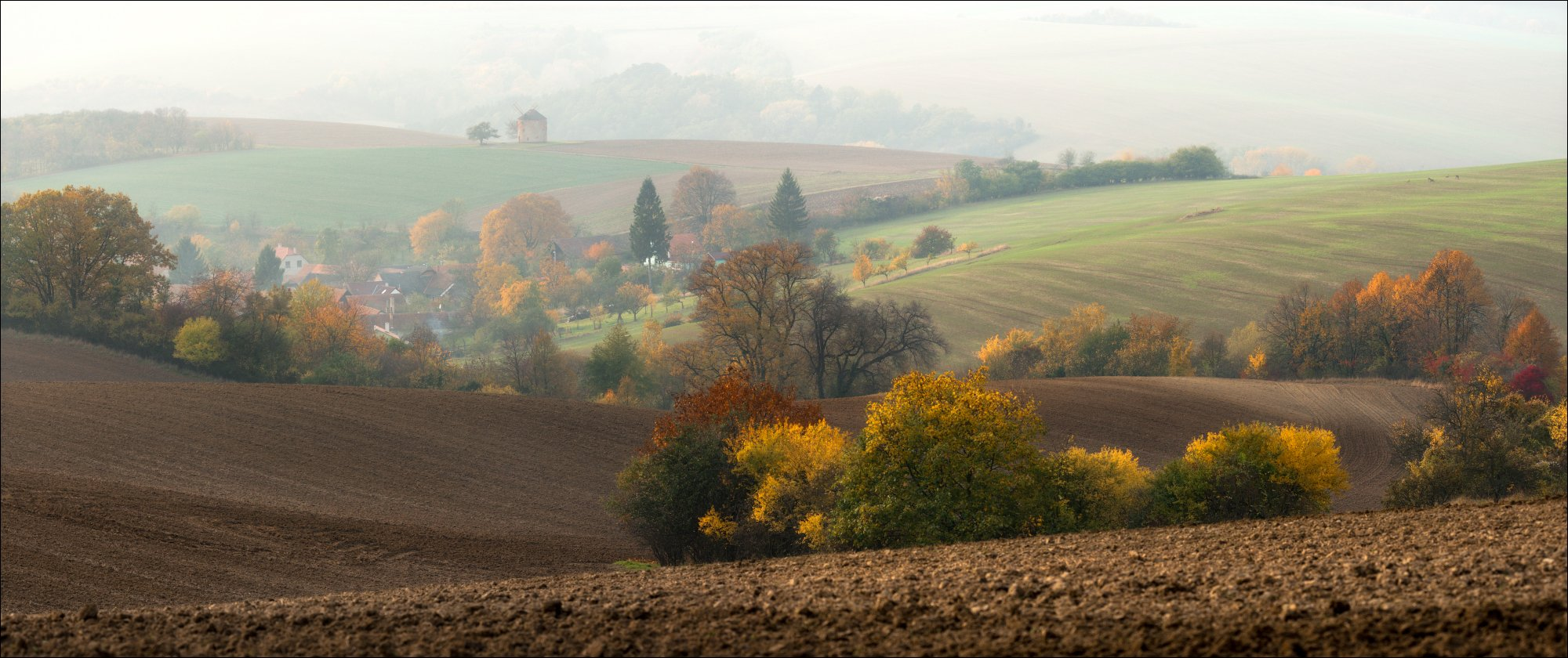 Чехия, Южная Моравия, осень панорама, утро, туман, идиллия, rural, South Moravian, Morava, autumn, мельница,, Влад Соколовский