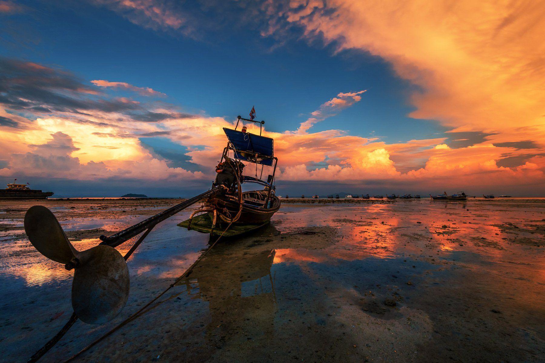 sunset, longtail boat,landscape, sea, water,clouds, sky, orange, fire, Jeni Madjarova