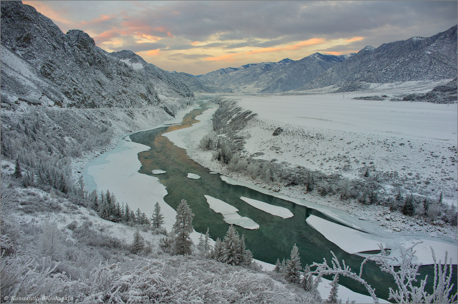 алтай, катунь, зима, закат, Константин Белошапкин
