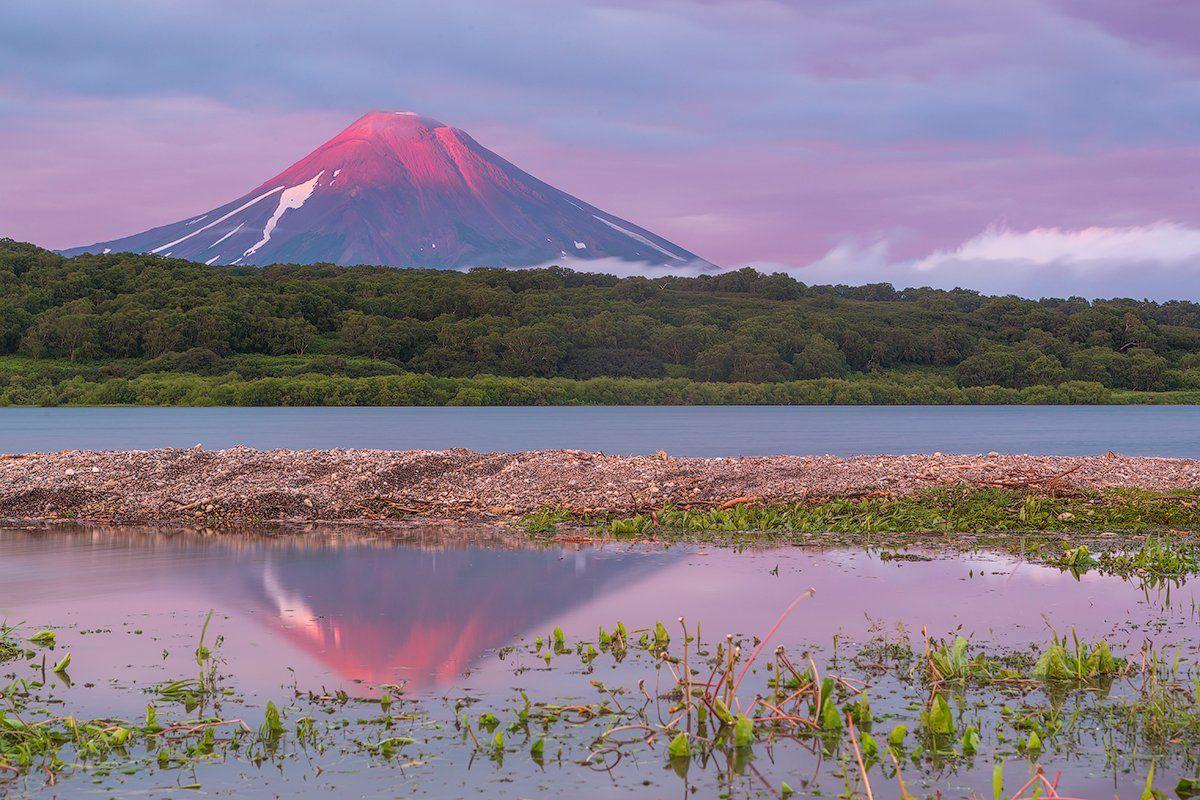 камчатка, фототур, путешествие, природа,  пейзаж, вулкан, закат, озеро, заповедник, отражение, Денис Будьков