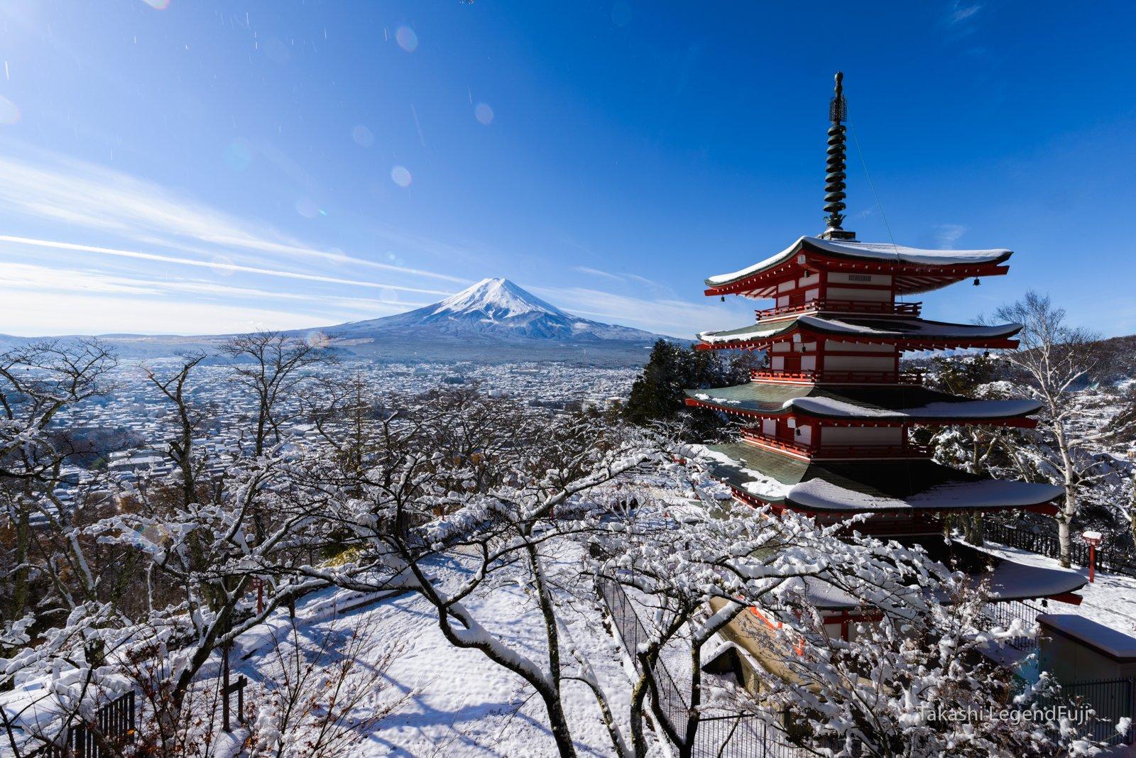 Fuji,Japan,mountain,snow,pagoda,tree,sky,blue,white,, Takashi