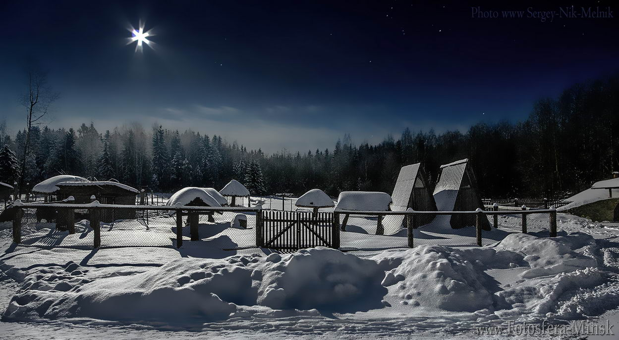 беларусь, звезды, зима, луна, мороз, ночь, снег, Sergey-Nik-Melnik.by