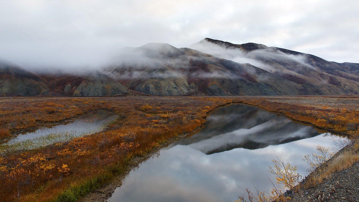 осень, речка, сопки, чукотка, пейзаж, облака, природа, север,, Сергей Шульга