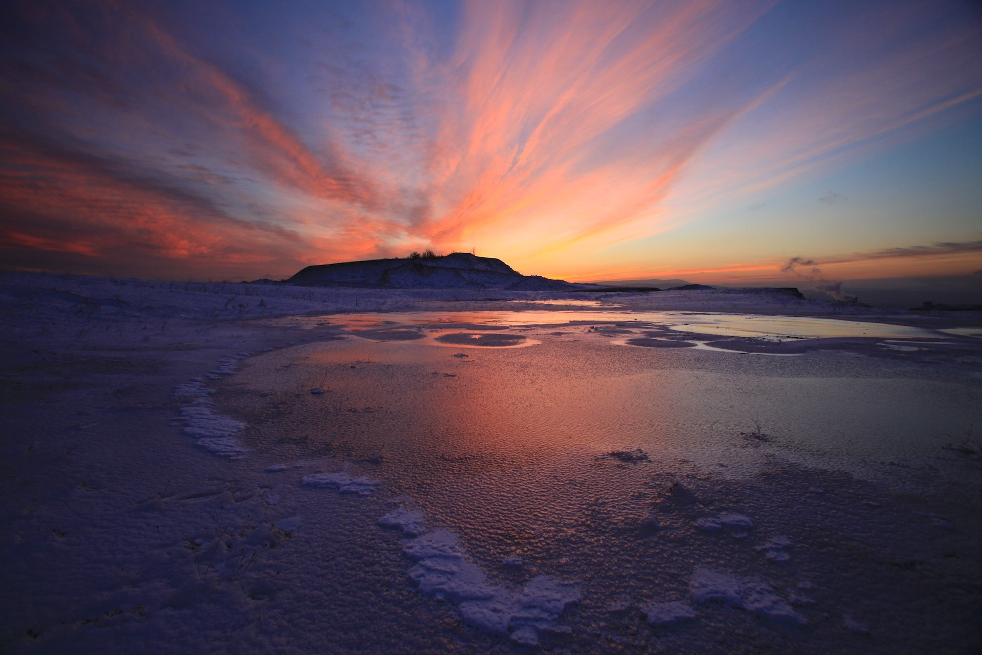 закат, облака, краски, красный, озеро, лед, зима, , Никифоров Егор