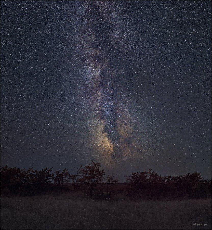 млечный путь, панорама, ночь, ночной пейзаж, звезды, звездное небо, Jazz Man