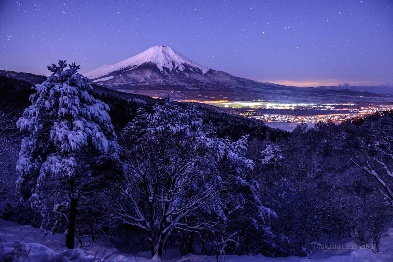 Fuji,mountain,Japan,night,snow,winter,beautiful,amazing,star,blue,moonlight,cloud, Takashi