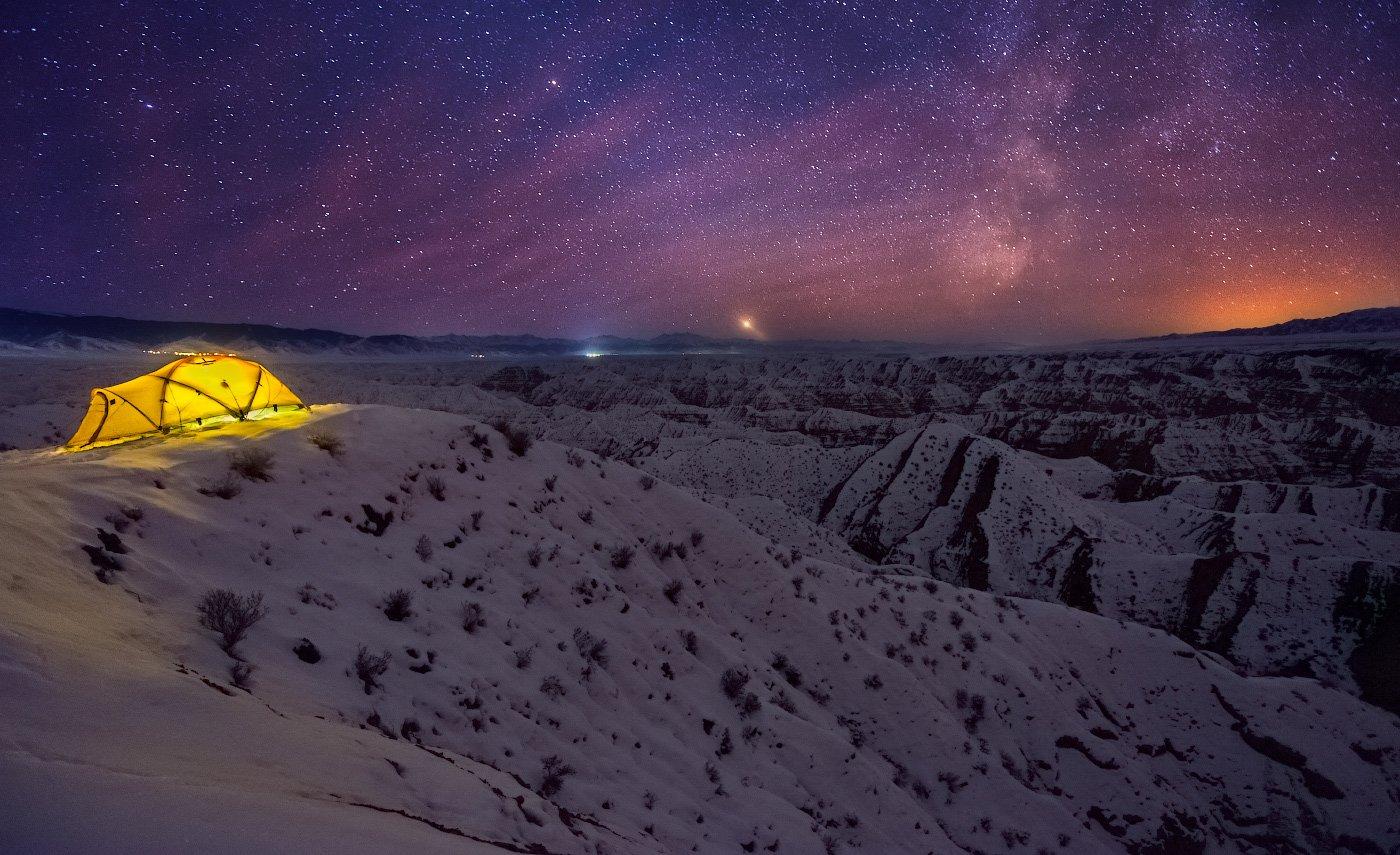 каньон, жабыр, чарын, ночь, ночное небо, палатка, Ольга Кулакова