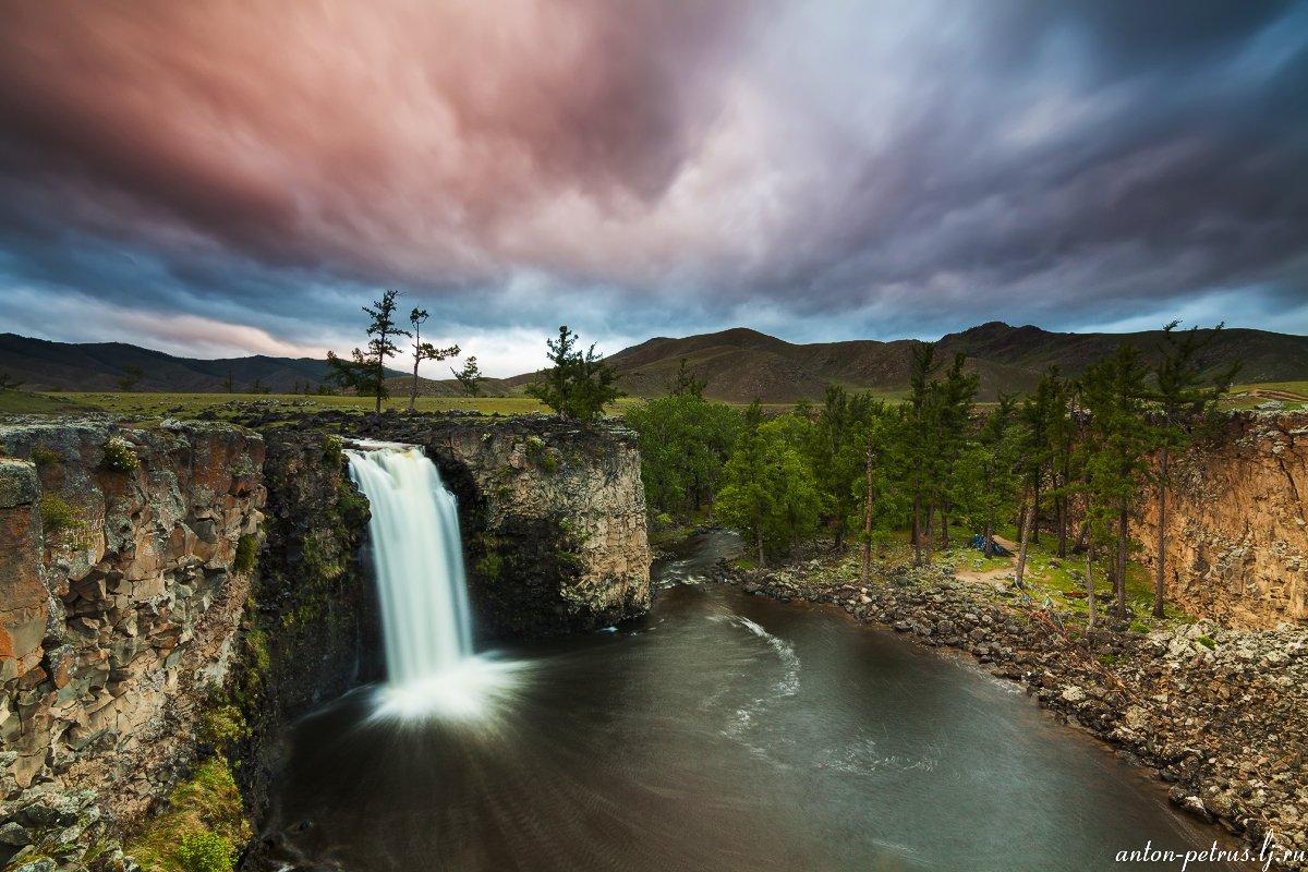 монголия, закат, водопад, Антон Петрусь