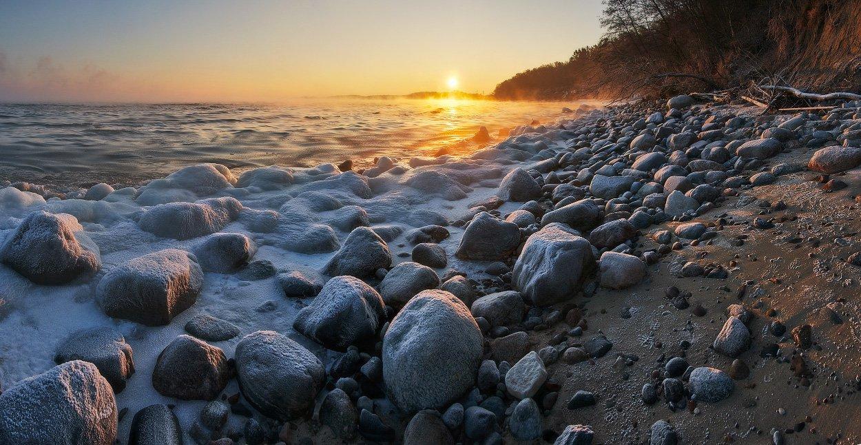 море, балтийское море, зима, лёд, камни, солнце, рассвет, Владимир Петрукович