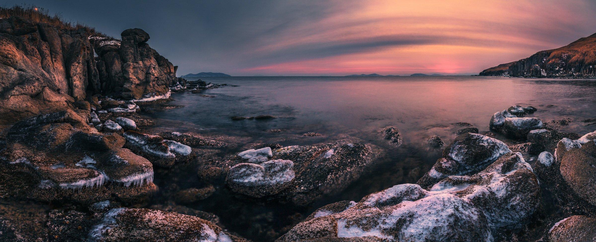панорама. море, скалы, зима, лёд, Андрей Кровлин