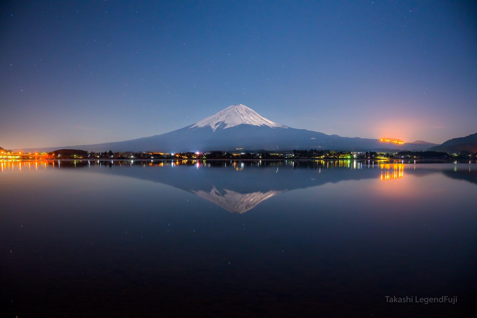 Fuji,mountain,Japan,night,lake,water,moon,reflection,beautiful,snow, Takashi