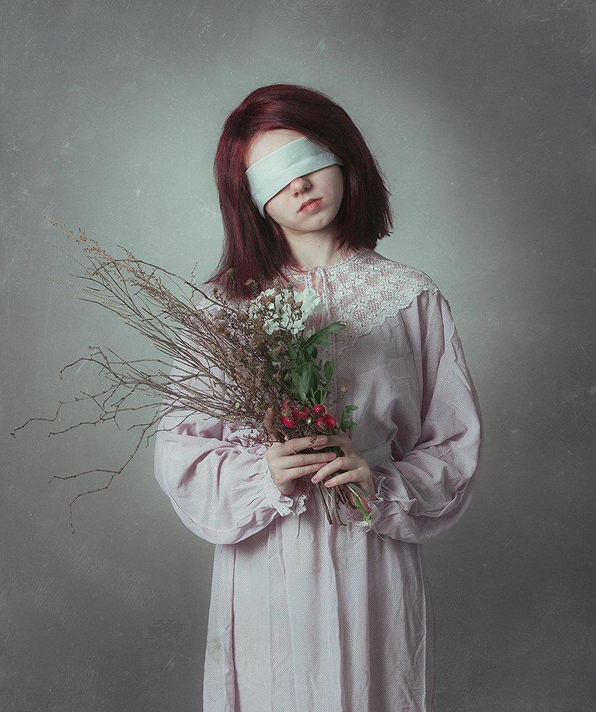 девушка, портрет, букет, Анна Северина
