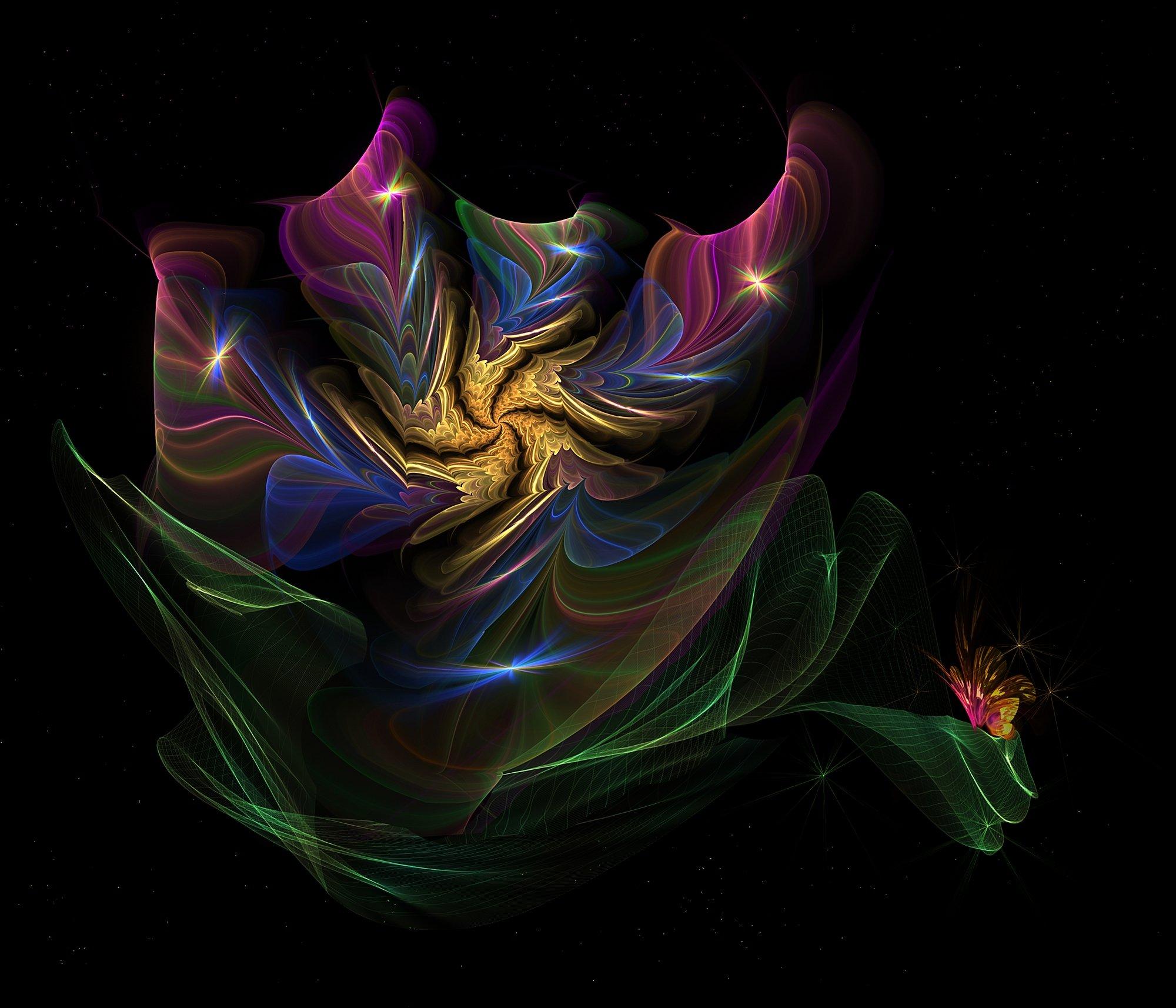 цветок,бабочка,краски,листья,абстрактныйцветок на чёрном фоне, Nataliorion