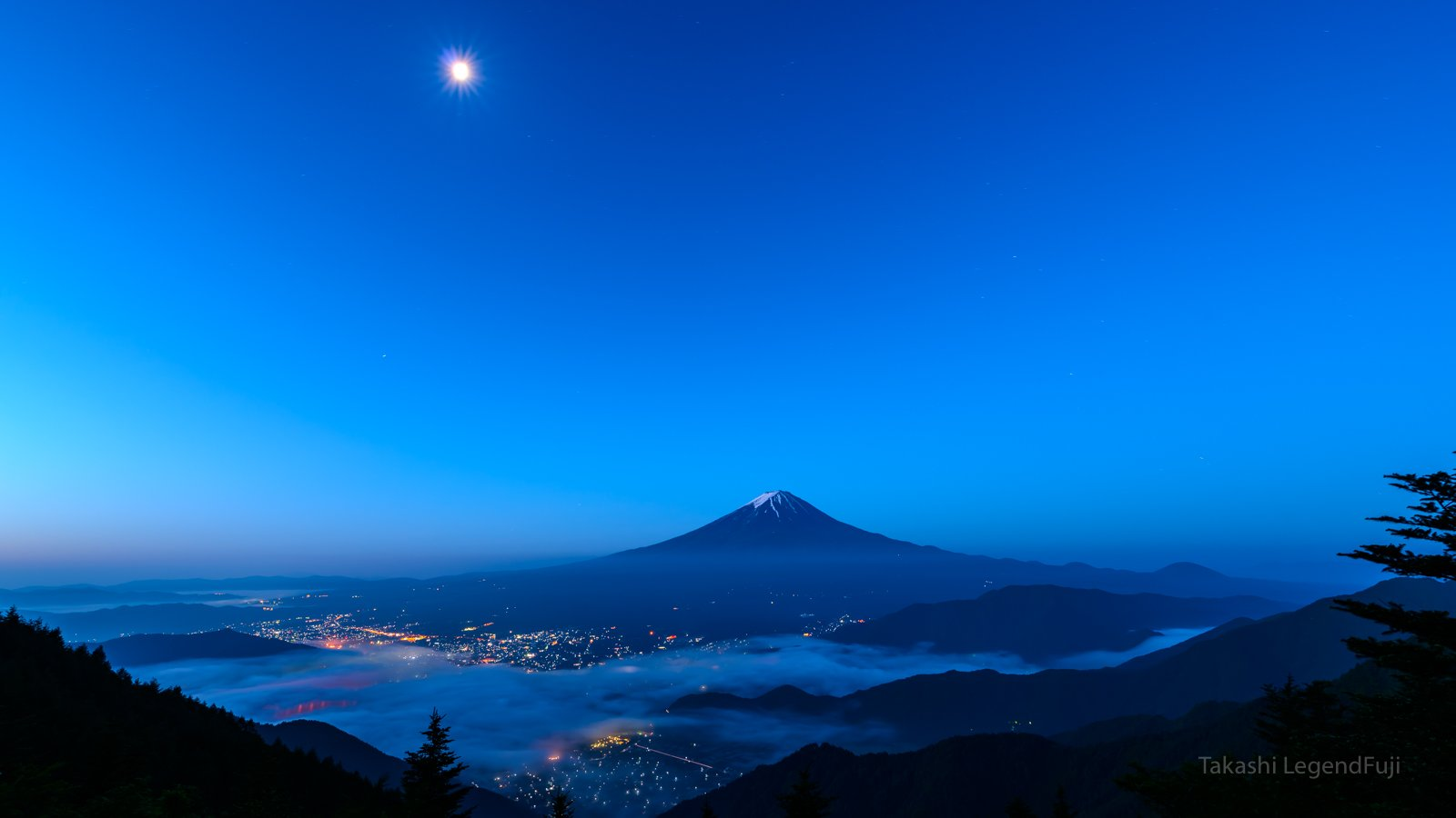 Fuji,mountain,Japan,cloud,moon,luna,sky,blue,lake,light,, Takashi