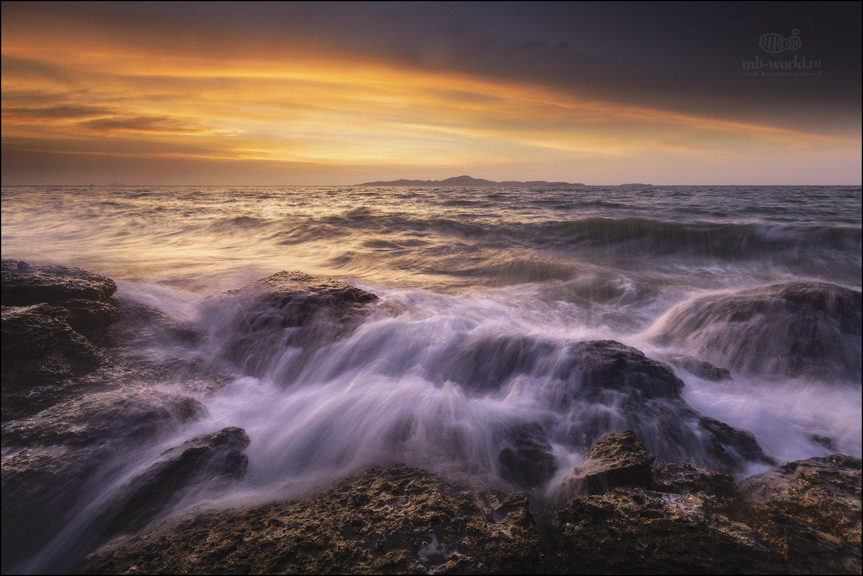 Тайланд, море, закат, волны, паттайя, Михаил Воробьев