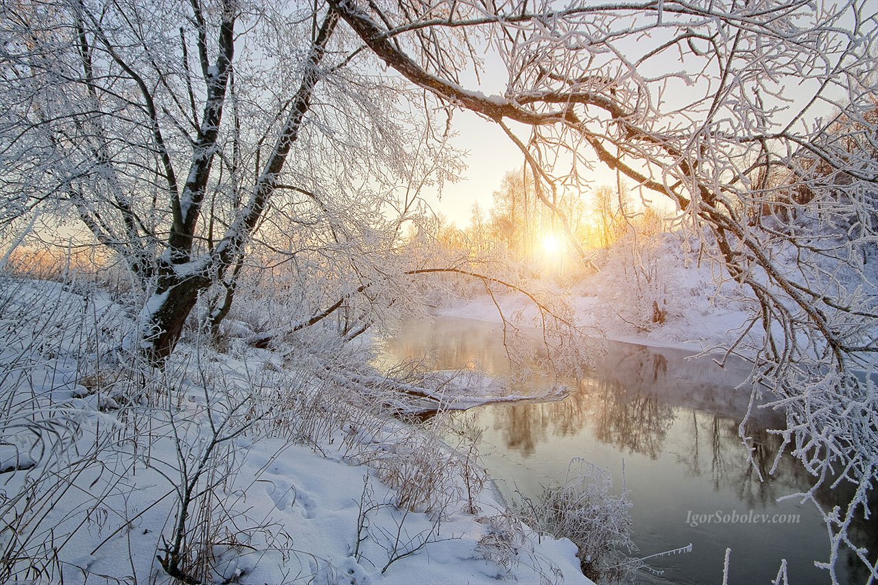 fog, frost, ice, istra, morning, moscow, moscow region, rays, river, russia, snow, sun, winter, Соболев Игорь