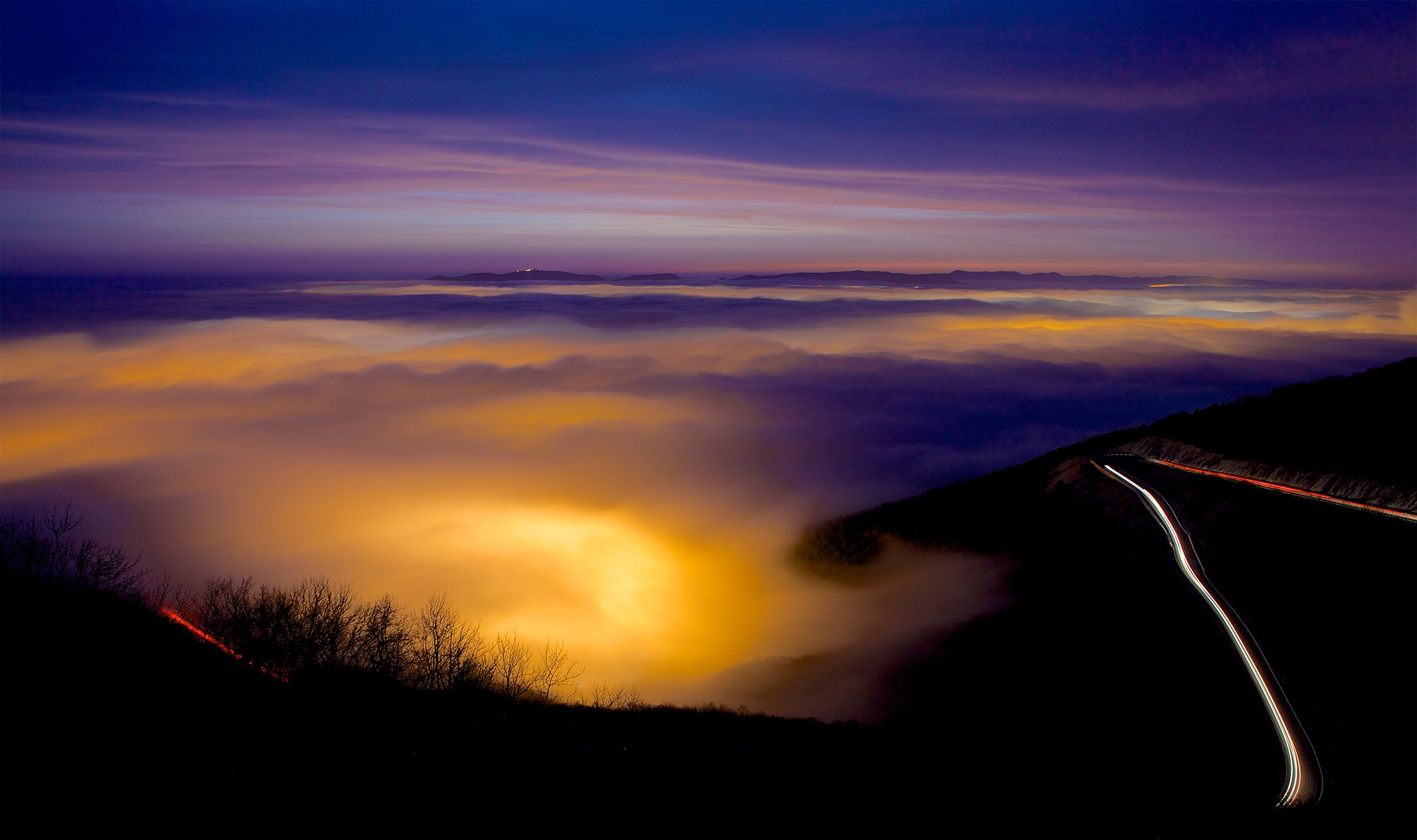 закат,ночь,новороссийск,туман,дорога,горы,перевал, Никифоров Егор