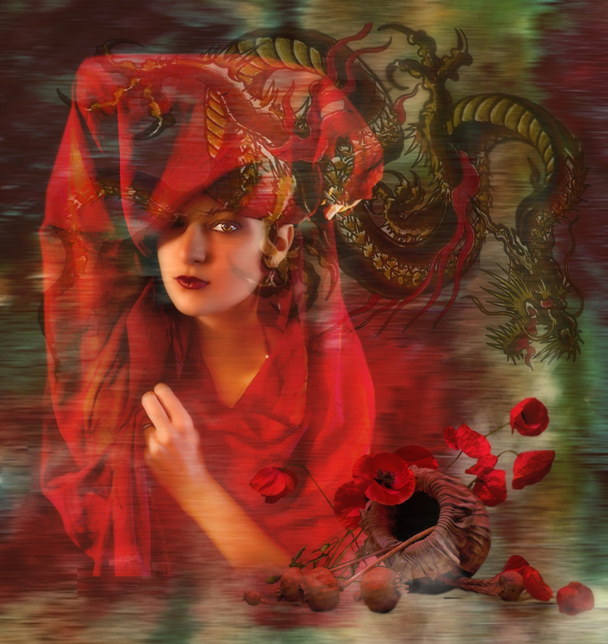 девушка в красном,маки,дракон, Nataliorion