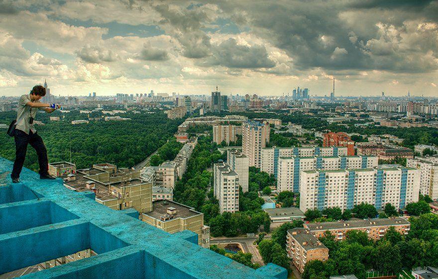 крыша, крыши, город, москва, день, облака, небо, тучи, лето, Kremchik