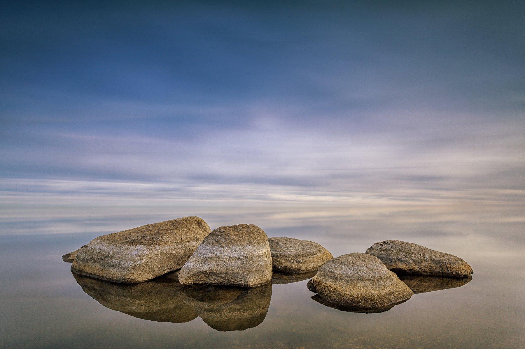 тишина, штиль, закат, камни, вода, озеро, Данил Ромодин