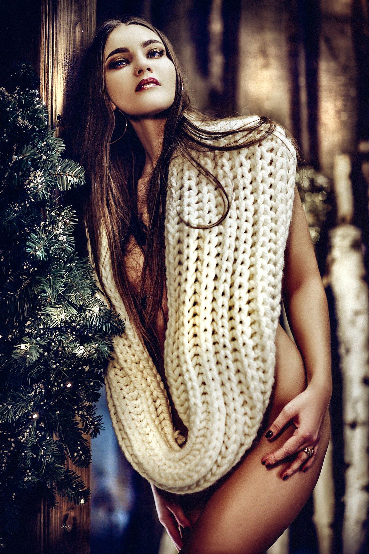 woman, portrait, studio, mood, christmas, beauty, Руслан Болгов (Axe)