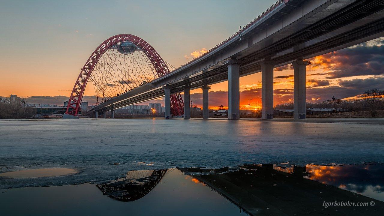 вечер, живописный мост, москва, россия, зима, Соболев Игорь