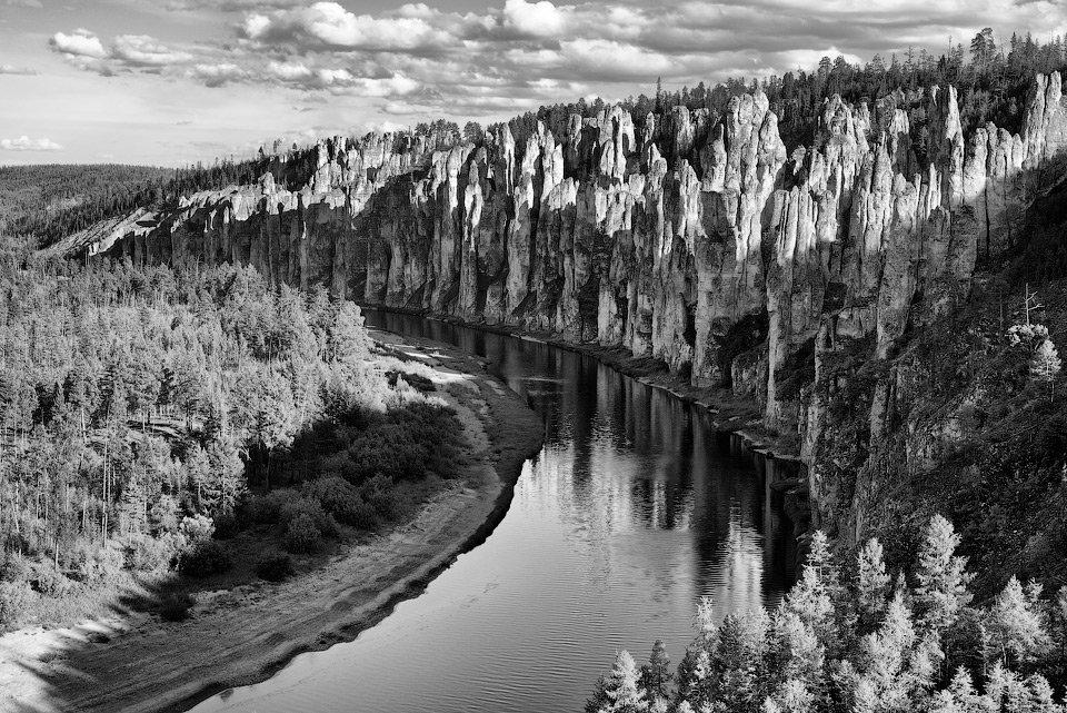 якутия, река синяя, синские столбы, скалы, река, небо, облака, отражения, лес, Алексей Харитонов