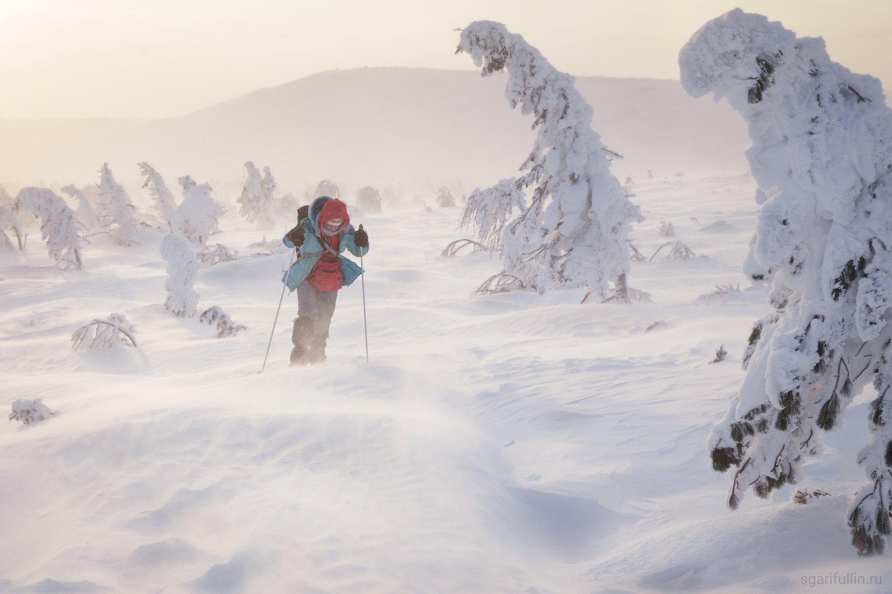 северный урал, северный урал, урал, урал, гух, гух, главный уральский хребет, главный уральский хребет, поход, лыжник, природа, туризм, зимний туризм, метель, турист, уральские горы, Сергей Гарифуллин